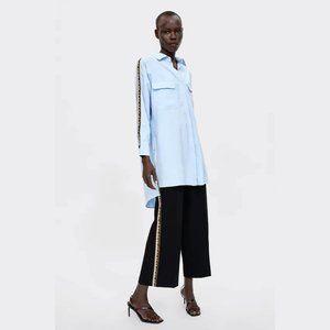 Zara black high waist wide leg culotte pants, S